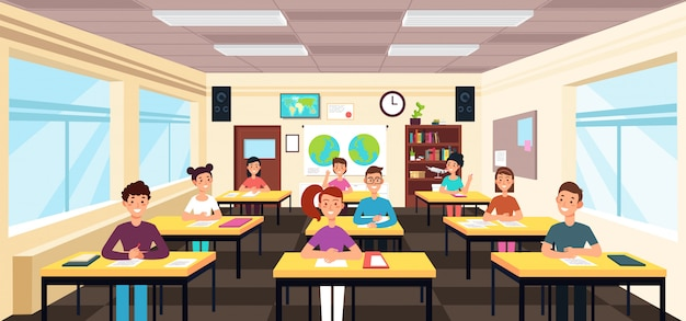 Gli alunni studiano all'interno dell'aula. alunni nell'illustrazione di vettore di lezione di scuola