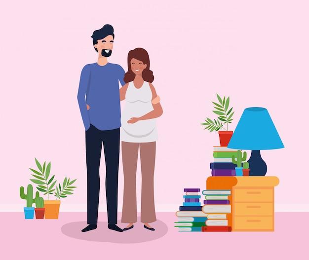 Gli amanti della gravidanza coppia in casa