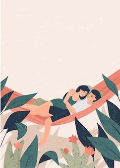 Gli amanti ragazzo e ragazza stanno abbracciando su un'amaca tra l'illustrazione delle piante tropicali