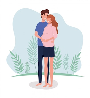 Gli amanti svegli si accoppiano i caratteri di gravidanza nel paesaggio