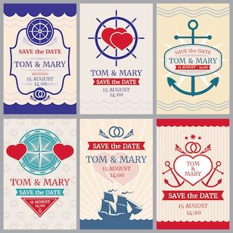 Gli ambiti di provenienza nautici di vettore di congratulazioni per l'invito di nozze con ancorano e progettano il mare