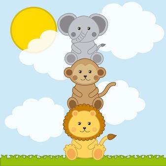 Gli animali del bambino sopra il paesaggio con le nuvole vector l'illustrazione
