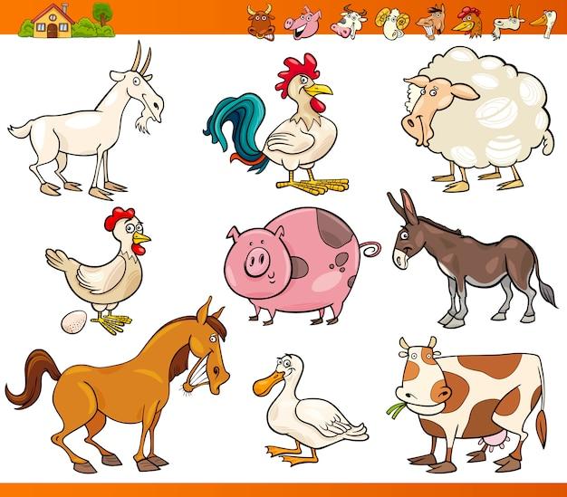 Gli animali della fattoria hanno messo l'illustrazione del fumetto