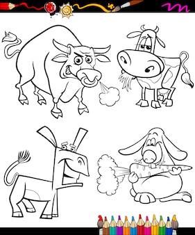 Gli animali della fattoria impostano il libro da colorare del fumetto