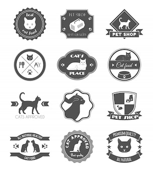 Gli animali domestici mettono la raccolta di etichette di simboli neri di cibo sano per poster di prodotti di qualità premium