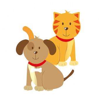 Gli animali domestici progettano sopra l'illustrazione bianca di vettore del fondo