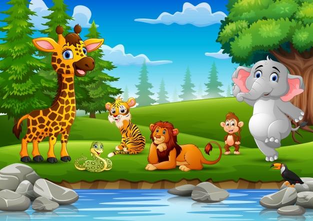 Gli animali selvaggi si godono la natura vicino al fiume