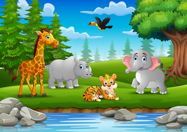 Gli animali si stanno godendo la natura vicino al fiume