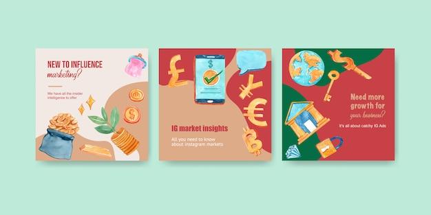 Gli annunci di finanza progettano con l'illustrazione dell'acquerello dei soldi, di valuta, dei contanti, di affari e di attività bancarie.