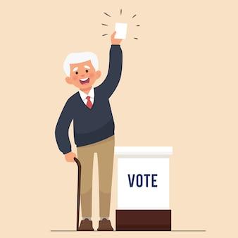 Gli anziani mostrano la carta per le elezioni pubbliche