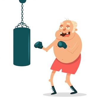 Gli anziani possono fare esercizi di fitness con il sacco da boxe. carattere divertente di vettore del fumetto del nonno isolato