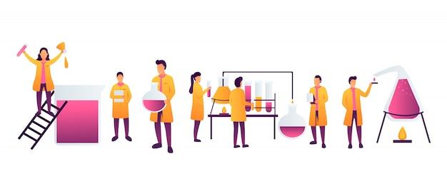 Gli assistenti di laboratorio lavorano in esperimenti scientifici di chimica medica o di laboratorio biologico.