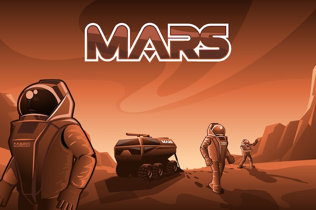 Gli astronauti camminano su marte.