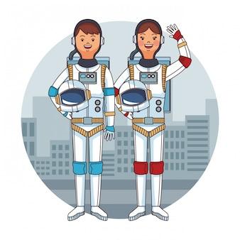 Gli astronauti coppia fumetto