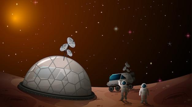 Gli astronauti nel campo spaziale