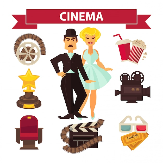 Gli attori del cinema e gli elementi dell'attrezzatura del film vector le icone piane