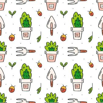 Gli attrezzi da giardino, i vasi e le piante scarabocchiano il modello senza cuciture disegnato a mano