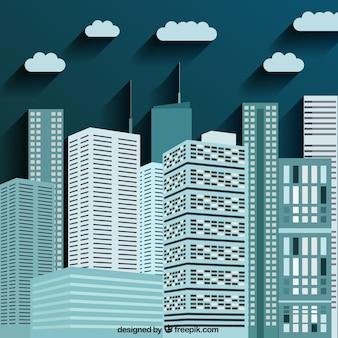 Gli edifici della città in colore blu