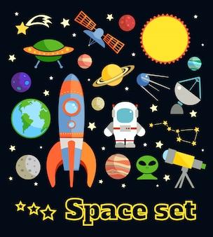 Gli elementi decorativi di astronomia e dello spazio hanno messo l'illustrazione di vettore isolata