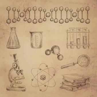 Gli elementi decorativi di scarabocchio di scienza con l'attrezzatura di laboratorio della struttura del dna hanno isolato l'illustrazione di vettore