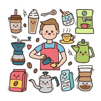 Gli elementi del barista e del caffè del fumetto nell'illustrazione di scarabocchio di kawaii