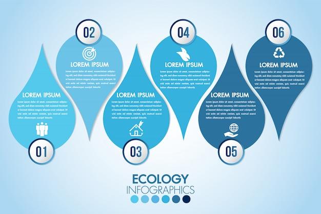 Gli elementi di design blu acqua eco infografica elaborano 6 passaggi o parti di opzioni con goccia d'acqua