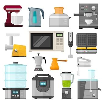 Gli elettrodomestici progettano le applicazioni di cottura e la cucina dell'attrezzatura degli elettrodomestici. insieme di cottura della famiglia degli elettrodomestici.