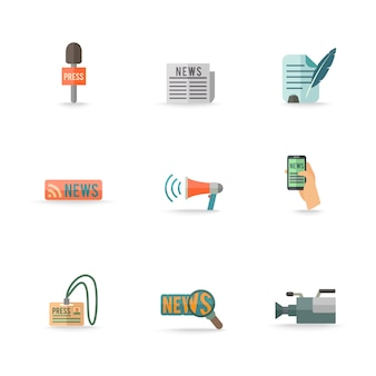 Gli emblemi mobili di simboli del reporter del centro stampa della pressa di mezzi sociali progettano le icone isolate raccolta dei pittogrammi messe pianamente. eps modificabili e rendering in formato jpg