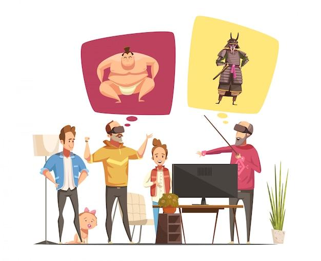 Gli hobby della famiglia progettano il concetto con le figurine del fumetto dei membri della famiglia e la loro illustrazione piana di vettore di vetro di realtà virtuale
