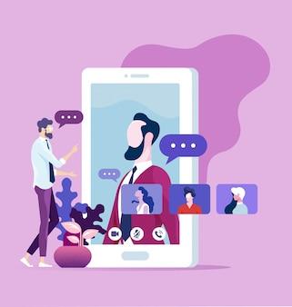 Gli impiegati di lavoro raggruppano la video chat