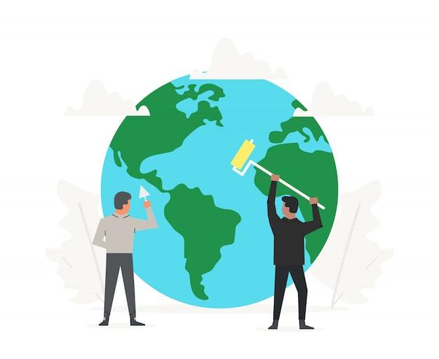 Gli impiegati hanno aiutato a ripulire e costruire il pianeta verde.