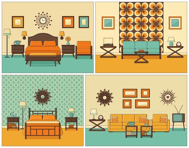 Gli interni delle camere sono in stile art design piatto. illustrazione.