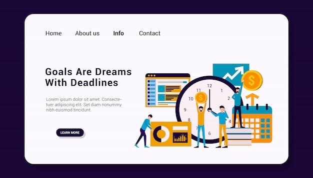 Gli obiettivi sono sogni con scadenze modello di pagina di destinazione con il concetto di gruppo umano aziendale, design piatto.