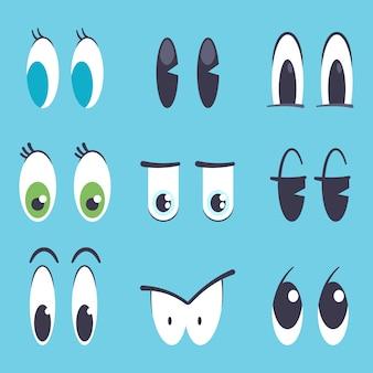 Gli occhi svegli del fumetto vector l'insieme piano isolato su fondo blu.