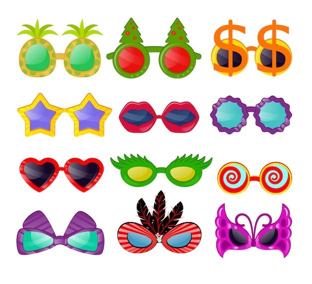 Gli occhiali vector gli occhiali da sole degli occhiali da sole del fumetto nella forma divertente della stella del cuore per il partito