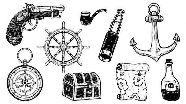 Gli oggetti del pirata hanno messo a mano il disegno di vettore.