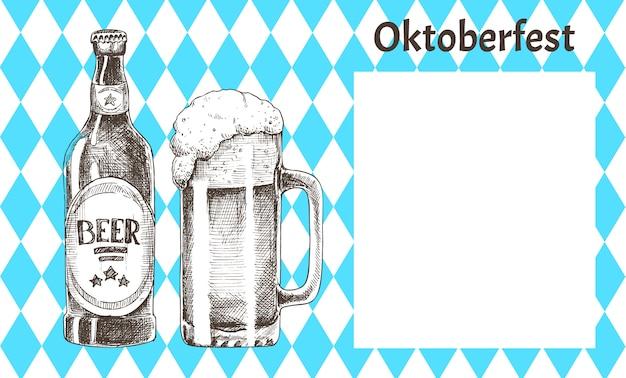 Gli oggetti della birra dell'oktoberfest hanno messo le icone disegnate a mano