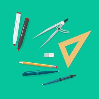 Gli oggetti di istruzione o le icone degli strumenti di studio della scuola hanno messo il fumetto piano di vettore