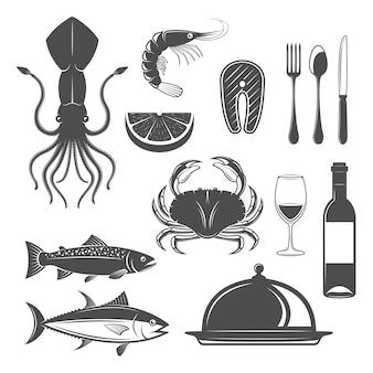 Gli oggetti monocromatici dei frutti di mare hanno messo con l'illustrazione di vettore isolata cloche del ristorante della coltelleria della bottiglia e della coppa di vino degli animali subacquei