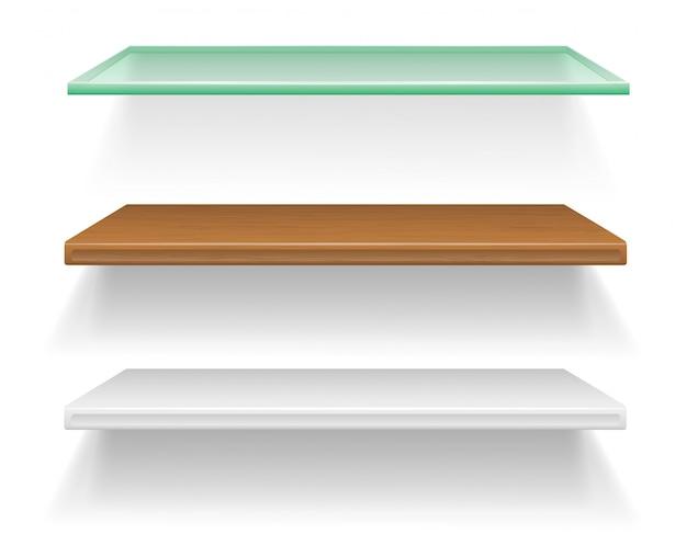 Gli scaffali fatti di materiali differenti vector l'illustrazione