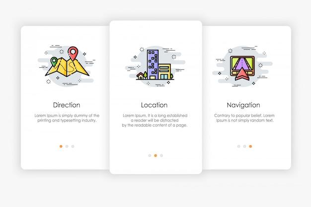Gli schermi di bordo sono progettati in posizione e direzione sul concetto di mappa. illustrazione moderna e semplificata, modello per app mobili.