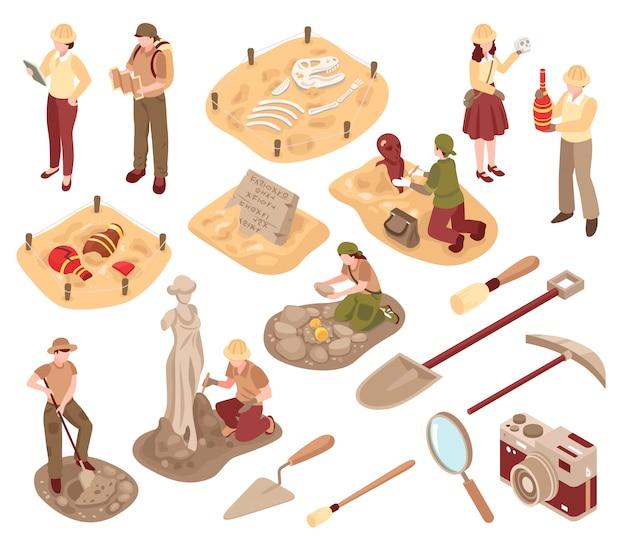 Gli scienziati dell'insieme isometrico di archeologia con attrezzatura professionale durante la ricerca dei manufatti antichi hanno isolato l'illustrazione di vettore