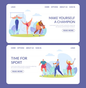 Gli sportivi, set di banner di atleti di varie discipline sportive illustrazioni isolate.