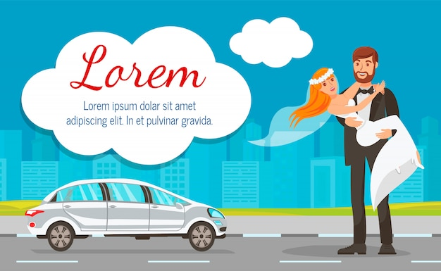 Gli sposi vicino a wedding car web banner template