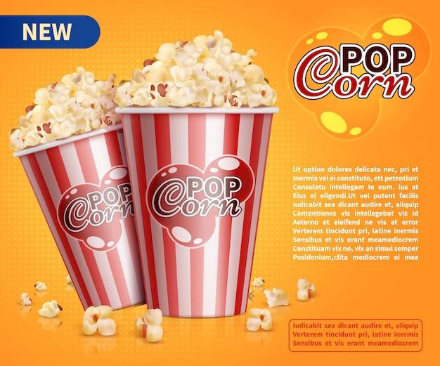 Gli spuntini classici del cinema del popcorn vector il modello promozionale dell'insegna