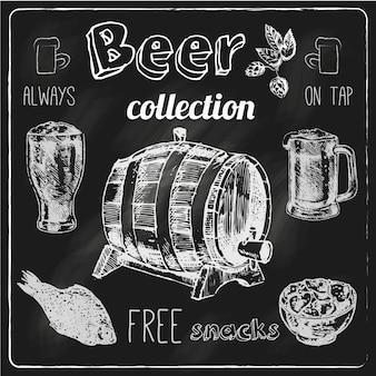 Gli spuntini salati sempre liberi colpiscono l'illustrazione isolata vettore di schizzo della raccolta degli elementi della pubblicità della lavagna del gesso della barra della birra