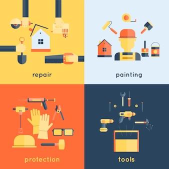 Gli strumenti domestici della costruzione della spazzola di pittura di riparazione domestica che misurano l'illustrazione piana di progettazione della composizione nelle icone del nastro del nastro