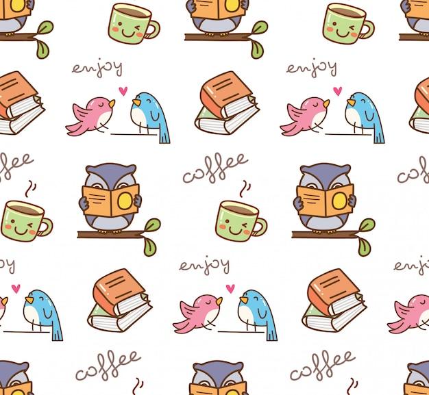 Gli uccelli carini godono di caffè senza cuciture