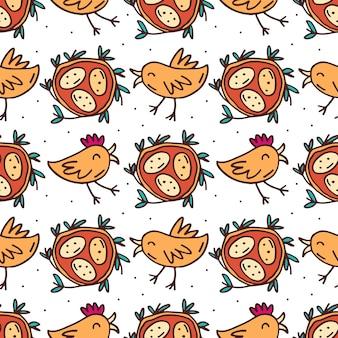 Gli uccelli divertenti svegli con il nido e le uova scarabocchiano il modello senza cuciture disegnato a mano