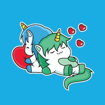Gli unicorni carini dormono con amore